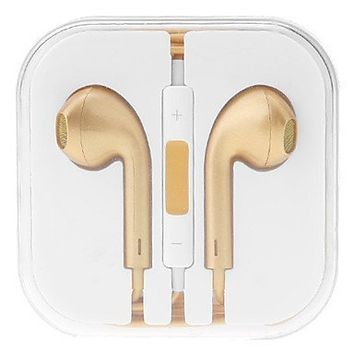 doopoo TMHigh Quality Earphones Earbuds Headphone In-ear Earphone Earpods 3.5mm with Remote and Mic Control Compatible with Apple Iphone 6 Plus Iphone 6 Iphone 5 5s 5c 4s 4 Ipad Air Mini2 Mini 4 3 2 Ipod Touch 5th (gold2)