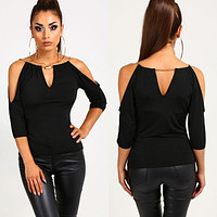 Women Loose Summer Casual Off Shoulder Blouse Shirt Tops Black Half Sleeve Hollow Out Blouse
