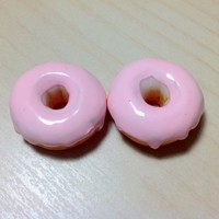 2 pcs Light Pink Donuts Cabochon Flatbacks 25 x 25 mm