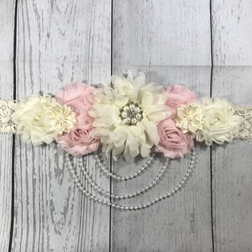Pink and Cream Lace and Pearls Maternity Sash