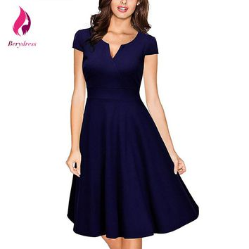 Berydress Retro 1950s Elegant Women Office Dress Navy Blue Vestido De Festa Formal Work Summer Dresses 2017 Audrey Hepburn Dress
