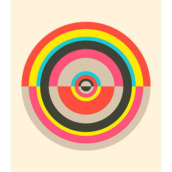 Around in Circles 004, Original Art Print, Geometric, Abstract, Target