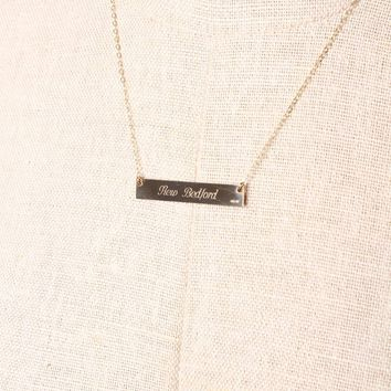 Lat & Lo New Bedford Coordinates Bar Necklace - Gold