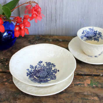 "vintage breakfast set // mason's patent ironstone ""ascot on oak"" // transferware // 1960s"