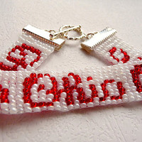 GO BUCKS Script Ohio OSU Woven Bead Ohio State by bravabracelets