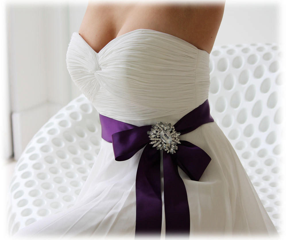 Purple bridal sash, crystal sash, ribbon from Glam Duchess