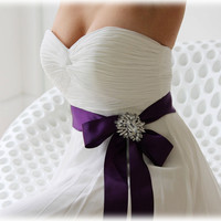 Purple bridal sash, crystal sash, ribbon sash, rhinestone belt, wedding accessory, bridal belt, bridesmaid belt