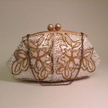 Vintage Handmade French Beaded Evening Bag, Small Off White Beaded Satin Purse, European Floral Beadwork Handbag; 1950s Fashion Accessory