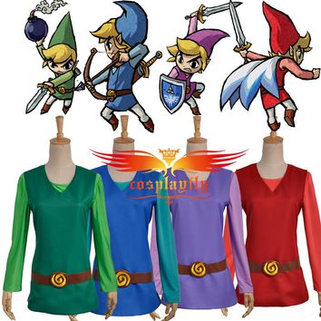 The Legend of Zelda: Four Swords Adventures Link Blue & Red & Green & Purple Four Versions Cosplay Costume with Hat (No Pants)