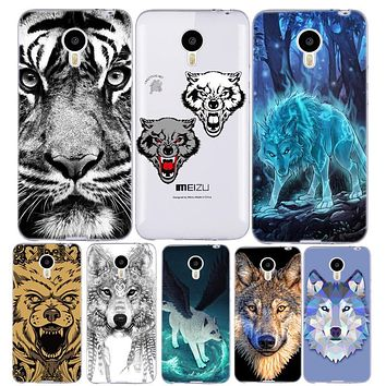 Wolf Tiger Pattern Cover Phone Case for Meizu M2 M3 Note M2 M3 S Mini Animal Painted Silicon Soft TPU Protective Shell M3s mini