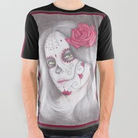 Dia De Los Muertos - Rose All Over Graphic Tee by drawingsbylam
