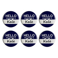 Kale Hello My Name Is Plastic Resin Button Set of 6