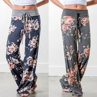 floral print wide leg lounge pants in 5 styles 2