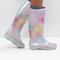 ASOS GLAMOUR Co-ord Pastel Spray Paint Wellies at asos.com
