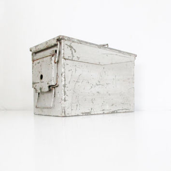 Industrial Metal Box Vintage Ammunition Box Military Box Metal Bin Industrial Storage Container Utility Box Tool Box Urban Industrial Decor