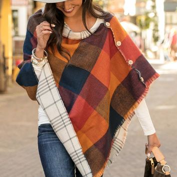 Reversible Button Poncho/Scarf in Orange and Navy