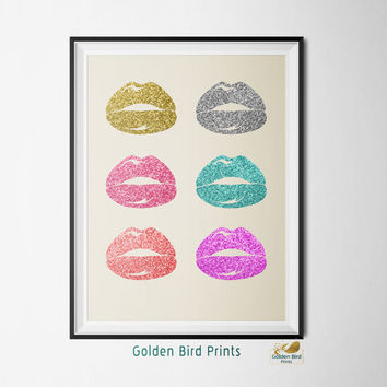 Colorful Glitter Lips - Printable Wall Art - Art Print - Digital Art Printable - Home Decor - Instant Download