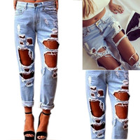 Women's Sexy Destroyed  Distressed Denim Harem Pants Boyfriend Jeans New