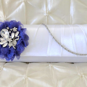 White Satin Bridal Clutch Purse With A Purple Chiffon and Lace Flower and Large Rhinestone Brooch Center