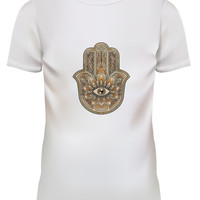 Unisex Hand Of God Tattoo Graphic White T Shirt Size S M L XL