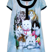 Kitten Cats Printed Tie Dye Tunic Dress