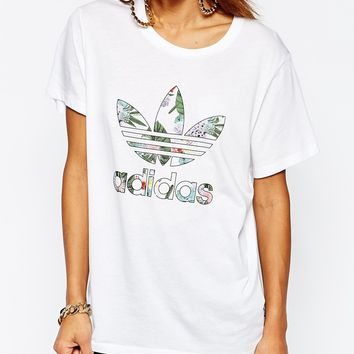 adidas Originals Adicolour Oversized T-Shirt With Trefoil Logo In Botanical Floral
