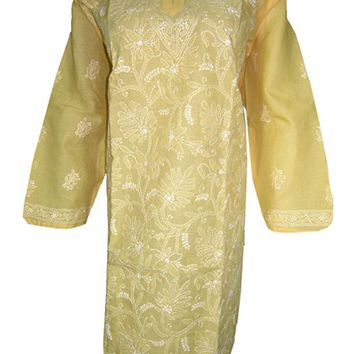 Mogul Interior Women's Indian Tunic Dress Floral Embroidered Yellow Cotton Kurta Caftan XXL