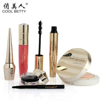 1Set=5Pcs Cool betty 5Pcs Makeup Set Mascara and Eyeliner and Eyeliner cream and Lip gloss and Powder #T826
