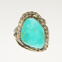 Native American Southwestern Turquoise Sterling Ring size 5