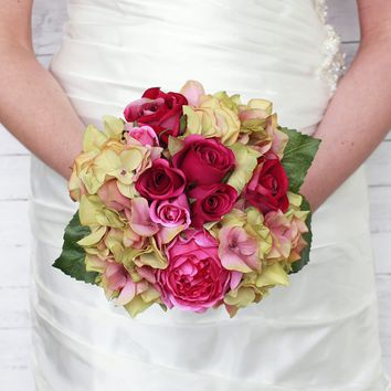 "Silk Rose and Hydrangea Wedding Bouquet in Rose Green10.5"" Tall  SPECIAL!"