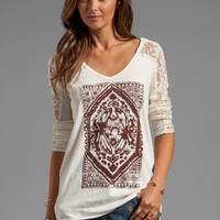 Free People Lady in Lace Graphic Top in Ivory Combo from REVOLVEclothing.com
