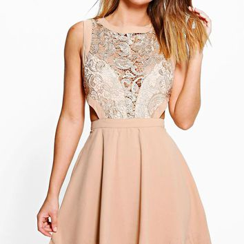 Layla Metallic Lace Cut Out Detail Skater Dress | Boohoo