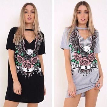 ONETOW Personality Fashion  Eagle Letter Print Hollow V-Neck Short Sleeve T-shirt Mini Dress