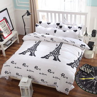 2016 New bedding set,I love Paris style,Comforter cover set,quilt cover/ bed sheet/Pillowcase,Duvet Cover set,no quilt