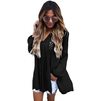 Chicloth Black Crochet Lace Trim Relaxed Long Sleeve Tunic