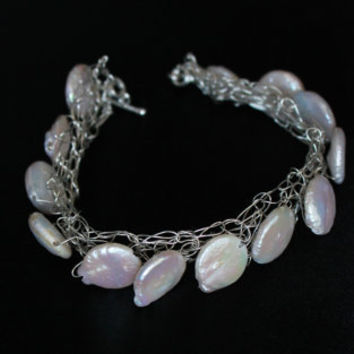 Sterling Silver wire wrapped/crochet Bracelet bangle white Pearls Bridal Luxe Collection handmade metal jewelry