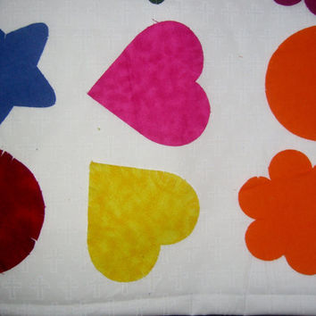 """Rag die cut fabric appliques flannel lot set of 12 heart star circle flower cotton sewing quilt crafting material multiple colors avail 4.5"""""""
