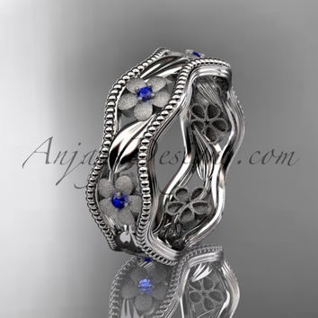 14kt white gold blue sapphires  flower wedding ring, engagement ring, wedding band. ADLR190