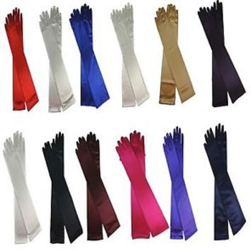 """18"""" Long Satin Stretch Gloves Above Elbow Bridal Prom Wedding Formal 12 Colors"""