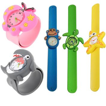 3D Cute Adorable Cartoon Student Wristwatch Animal Quartz Silicone Sports Kids toy Wrist Watch Unique Pattern Boys Girls Gift LL