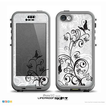 The Black and White Vector Butterfly Floral Skin for the iPhone 5c nüüd LifeProof Case
