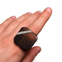 "Wood Ring, Vintage Abstract Square Wooden Cocktail Ring, Silver Stripe, Earthy Jewelry, Industrial Nickel Free Adjustable - ""Abstraction"""