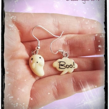 Halloween kawaii ghost and boo earrings charm chibi in polymer clay - Halloween gift
