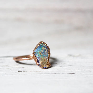 Raw Opal Engagement Ring - Natural Opal Ring - Australian Opal Ring - Bohemian Stone Ring - October Birthstone - Raw Crystal Ring Rose Gold