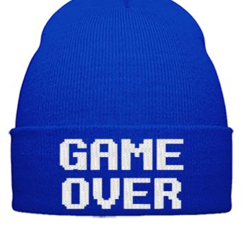 game over embroidery hat - Beanie Cuffed Knit Cap
