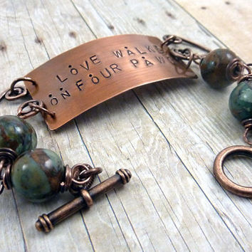 Animal Lover Copper Bracelet Love Walks on Four Paws Quote Dog Cat African Green Jade Whimsical