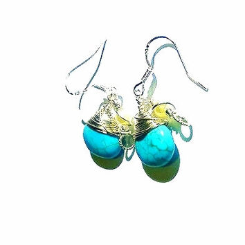 CLEARANCE SALE!! Turquoise Magnesite & Pearl Earrings Sterling Silver Earrings Gemstone Earrings Wire Wrapped Jewelry Magnesite Jewelry