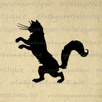 Digital Black Cat Silhouette Graphic Image Kitten Printable Download Vintage Clip Art for Transfers Making Prints etc HQ 300dpi No.3581