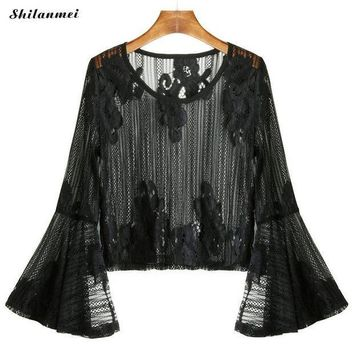 ICIKON3 Fashion Blouse Womens Mesh Tops Summer Blouses Black Flare Sleeve Slit Beach Embroidered hollow transparent Lace Top 2018