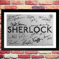 Framed Sherlock Full Cast signed print. Gift with printed autograph. Poster Photo Artwork TV Show Series Season DVD Benedict Cumberbatch